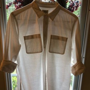 J Crew White Button Down Blouse Size Medium